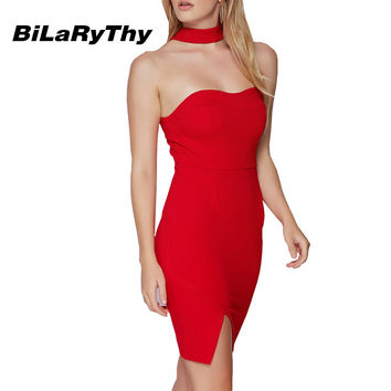 BiLaRyThy Sexy Women Ladies Halter Bodycon Dress Slim Off Shoulder Strapless Cocktail Party Wrap Split Mini Dresses