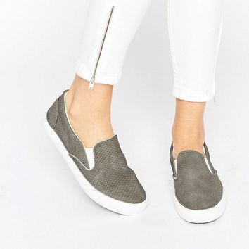 New Look Snake Effect Slip On Trainer at asos.com