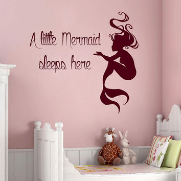 The Little Mermaid Bedroom Decor Mermaid Wall Decals Quote A Little Mermaid Sleeps Here Vinyl Decal Sticker Home Interior Design Baby