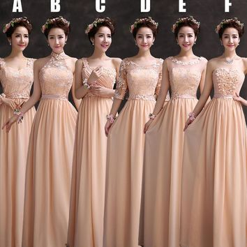 Elegant Scoop Neck Lace Half Sleeves Long Chiffon Peach Bridesmaid Dresses/Wedding Party Dress/Cheap Price