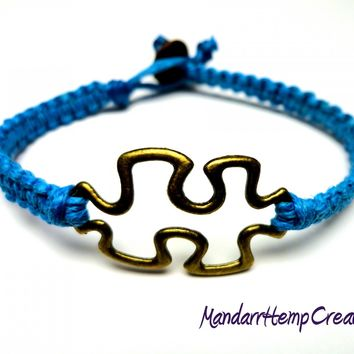 Puzzle Piece Bracelet, Blue Macrame Hemp Jewelry, Made to Order