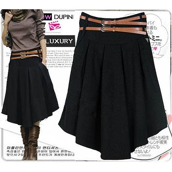 New Arrival Autumn Winter Wool Skirt For Women Plus Size Mid Long Skirt High Waist Pleated Skirt Black Gray Woolen Skirts Women
