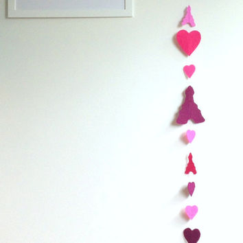 Felt Garland, Eiffel Tower and heart Garland, Nursery Decor, French Style, 6ft (180 cm)