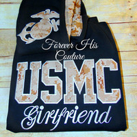 USMC girlfriend Usmc Wife Usmc Mom Marine Girlfriend Marine Wife Military pullover EGA varsity pullover