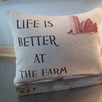 Home gift farm pillow farmhouse decor cotton canvas throw pillow barn decoration rustic homespun cushion retirement gift neutral home decor