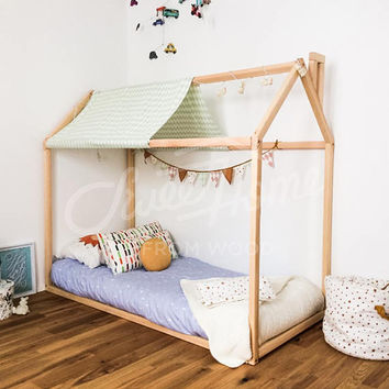Toddler bed, play house bed frame, children bed, bunk bed, home bed, wood house, floor bed, teepee bed, wooden bed, wood house 140x70/ 90cm