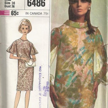 1960s Pretty Shift Dress with Butterfly Sleeves Simplicity 6486 Bust 36 UNCUT Vintage Sewing Pattern