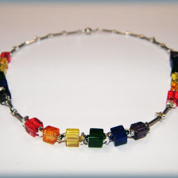 PrideStar Necklace .. Gay Pride necklace with silver stars, rainbow glass cube beads, silver glass tube beads and a magnetic clasp.