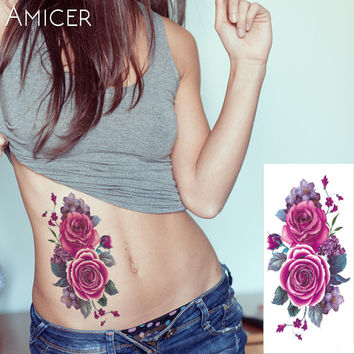 1 piece Indian Arabic Fake temporary flash henna tattoo  stickers purple rose flowers arm shoulder leg tattoo waterproof  women