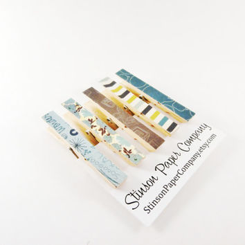 Clothespin Magnets | Kitchen Clips | Dorm Magnets | Neodymium Magnets | Decoupaged Magnets | Magnet Clips | Blue Magnets | Cute Magnets