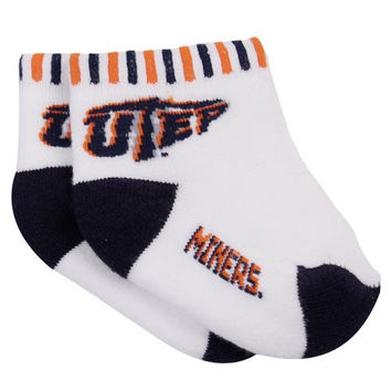 UTEP Miners Infant White-Navy Blue Circus Striped Team Logo Socks - http://www.shareasale.com/m-pr.cfm?merchantID=7124&userID=1042934&productID=525445192 / UTEP Miners