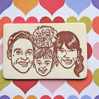 Hand Carved Custom Family Portrait Stamp -DIY Stationery, Return Address, Lavel, Christmas cards, Thank You Cards-