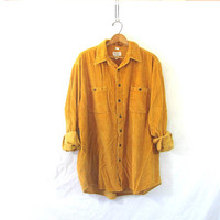 Vintage corduroy shirt / Grunge Shirt / Boyfriend button up shirt / golden yellow