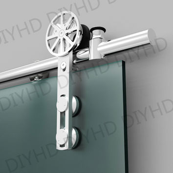 European Style Stainless Steel Sliding Barn Glass Door Hardware Sliding Barn Track Hardware W/ Movable Decoration Ring