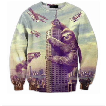 Sloth Zilla All Over Print Crew Neck Sweatshirt