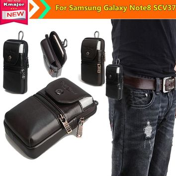 Men Retro Genuine Leather Waist Phone Bag Waterproof Case Belt Pouch for Samsung Galaxy Note8 SCV37 6.2inch Phone Free Shipping