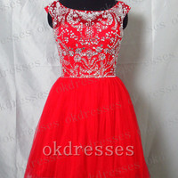 2014 Fashion Red Tulle Short Prom Dress,Cap Sleeves Beads Crystal Mini Evening Dress,Back V Corset Prom Gown,Cocktail Dress