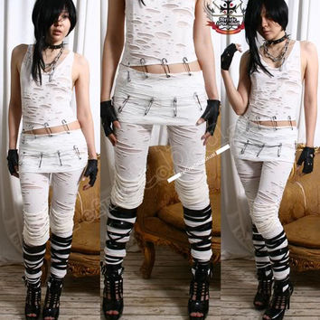 Gothic Angel Punk Raggedy CORRODED MUMMY Leggings Pants