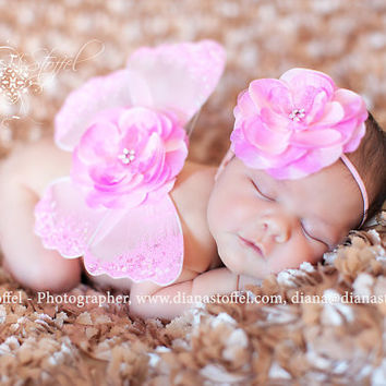 baby headband and butterfly wings set  newborn by cutiepiegoodies