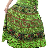 Indian Wrap Skirt Elephants Print Green Wrap Around Womens Cotton Long Skirts