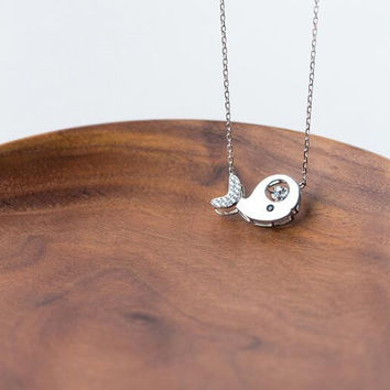 925 Sterling Silver Cute Little Dolphin Necklace + Nice gift box ALQ