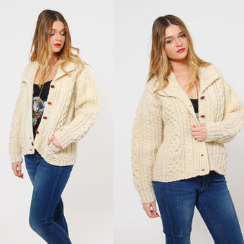 Vintage 70s FISHERMANS Sweater Cream CABLE Knit Cardigan Hand Knit IRISH Wool Fishermens Sweater Hipster Boyfriend Sweater