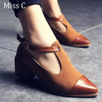 2017 Vintage Oxford Shoes Women Pointed Toe Cut Out Med Heel Patchwork Buckle Ladies Shoes Flats WFS112
