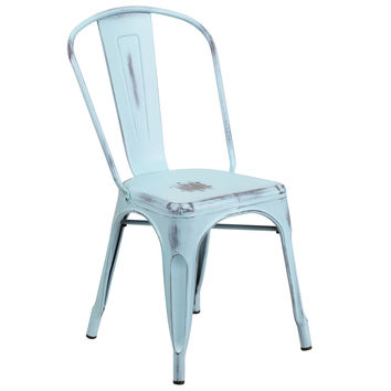 Distressed Dream Blue Metal Indoor-Outdoor Stackable Chair