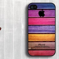 iphone 4 case iphone 4s case iphone 4 cover colorized wood texture Iphone Logo design printing