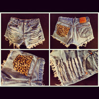 High Waisted Levi Shorts --slashed with leopard