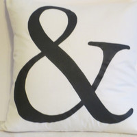 "Pillow Covers 18"" - Handpainted Black Ampersand Pattern"