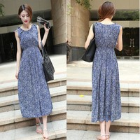 Summer Slim Bohemia Floral Prom Dress Cotton One Piece Dress [6046503297]