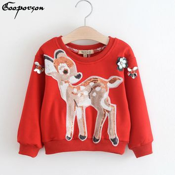 Girls T Shirt Long Sleeve Autumn New Design Sequin Deer Christmas Tops for Baby Girl Cute Shirt Winter Wear Tops Kids Clothes