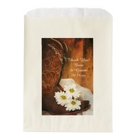 White Daisies and Cowboy Boots Wedding Thank You Favor Bags