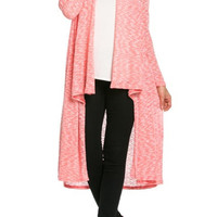 Long Sleeve Open Front Knit Maxi Cardigan