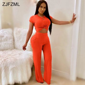 ZJFZML Summer 2 Piece Matching Sets Women O Neck Short Sleeve Crop Top+Full Length Wide Leg Pant Casual Solid Two Pieces Outfits