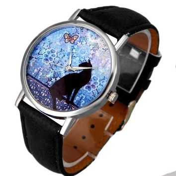 Cat Pattern Leather Band Analog Quartz Wristwatch