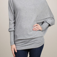 Heather Gray Off Shoulder Dolman Slouchy Top