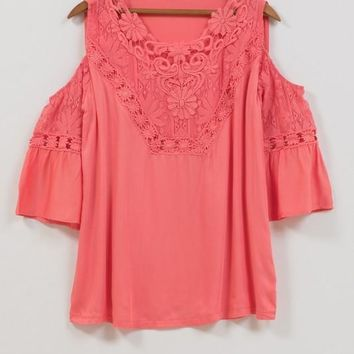 Cold Shoulder Top with Crochet Lace Detail - Coral