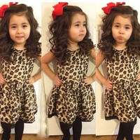 Fashion Children Kids Baby Girls Princess Dresses Summer Fashion Cute Sexy Leopard Short Sleeve one-piece Summer Party Dress Outfits Fit 1-6Y = 1958376452