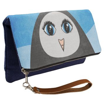Geometric Cute Cartoon Penguin With Big Eyes Clutch