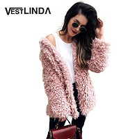 Winter Grey Wool Overcoat Warm Outerwear Women Pink Faux Fur Coat Turn Down Collar Long Sleeve Cardigan Female Outwear