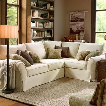 PB Comfort Slipcovered 3-Piece Sectional with Corner