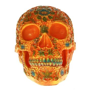 Skull Skulls Halloween Fall Mexican Day of the Dead Floral Carved  Head Resin Figurine Dia de los muertos Orange Sugar Flower  Halloween Sculpture Calavera