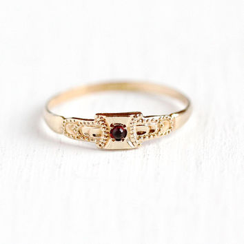 Antique Baby Ring - 10k Rosy Yellow Gold Simulated Garnet - Size 2 Vintage 1920s Signed OB Ostby Barton Red Glass Stone Midi Fine Jewelry