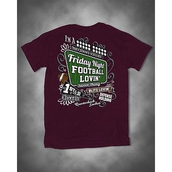 Sweet Thing Friday Night Football Lovin Cheerin Girl Maroon Girlie Bright T-Shirt