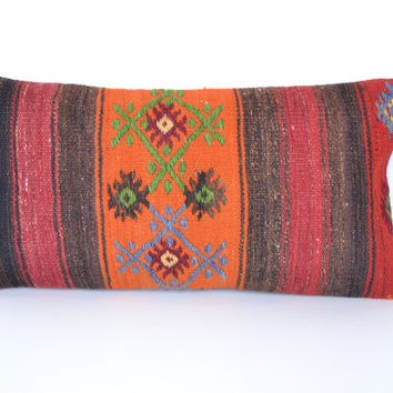 sale Lumbar pillow 24x12'' Kilim Pillow Cover, Vintage Bohemian Bolster, Decorative handwoven Throw Cushion, Rust Euro Sham, Chic Home Decor