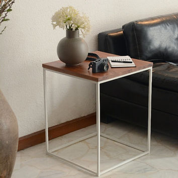 Modern Industrial Wood & Metal Side Table handmade from Tzalam Wood and White Steel