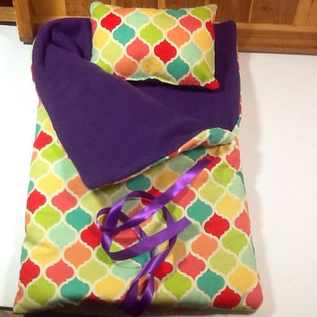 "Doll Sleeping Bag for 18"" dolls and others, with colorful quatrefoil design, purple fleece lining, use for slumber party or camping bag"