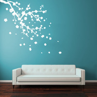 Vinyl Wall Decal Sticker Flower Blossom Sakura Cherry Branch Bedroom Dorm r1322